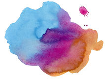 Colorful watercolor stain. Big isolated colorful watercolor stain Royalty Free Stock Photo