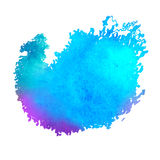 Colorful watercolor stain with aquarelle paint blotch. On a white background stock illustration