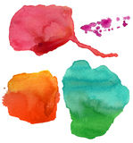Colorful watercolor stains. Collection of different watercolor stains, isolated Stock Image