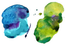 Colorful watercolor stains. Two colorful watercolor stains (isolated Stock Image
