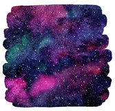 Colorful watercolor stains cosmic background. Cosmic background. Colorful watercolor galaxy or night sky with stars. Hand drawn cosmos illustration with blobs Stock Images