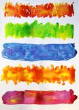 Colorful watercolor stripes. Many multicolored watercolor rectangles and strips on a white sheet of paper royalty free illustration