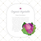 Colorful watercolor texture nature organic fruit memo frame purple cauliflower royalty free illustration