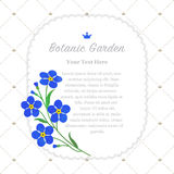 Colorful watercolor texture vector nature botanic garden memo fr. Ame blue forget me not Royalty Free Stock Photo