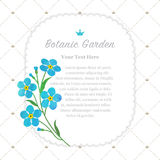 Colorful watercolor texture vector nature botanic garden memo fr. Ame light blue forget me not Stock Photo