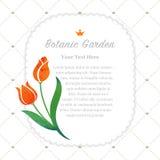 Colorful watercolor texture vector nature botanic garden memo fr. Ame orange tulip Stock Image
