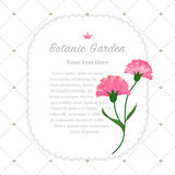 Colorful watercolor texture vector nature botanic garden memo fr. Ame pink carnations Stock Images