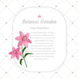 Colorful watercolor texture vector nature botanic garden memo fr. Ame pink lily Stock Photo