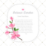 Colorful watercolor texture vector nature botanic garden memo fr. Ame pink magnolia Royalty Free Stock Images