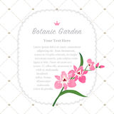 Colorful watercolor texture vector nature botanic garden memo fr. Ame pink orchid Stock Photo