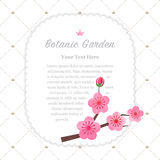 Colorful watercolor texture vector nature botanic garden memo fr. Ame pink plum blossom Royalty Free Stock Image