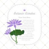 Colorful watercolor texture vector nature botanic garden memo fr. Ame purple lotus Stock Image