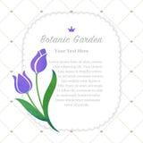 Colorful watercolor texture vector nature botanic garden memo fr. Ame purple tulip Stock Photography