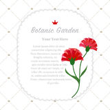 Colorful watercolor texture vector nature botanic garden memo fr. Ame red carnations Royalty Free Stock Image