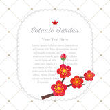 Colorful watercolor texture vector nature botanic garden memo fr. Ame red plum blossom Royalty Free Stock Image