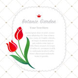 Colorful watercolor texture vector nature botanic garden memo fr. Ame red tulip Stock Images