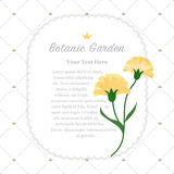 Colorful watercolor texture vector nature botanic garden memo fr. Ame yellow carnations Royalty Free Stock Photo