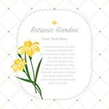 Colorful watercolor texture vector nature botanic garden memo fr. Ame yellow iris Stock Photography