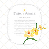 Colorful watercolor texture vector nature botanic garden memo fr. Ame yellow orchid Royalty Free Stock Image