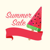 Colorful watercolor texture vector popsicle summer sale promotion banner title template stock illustration