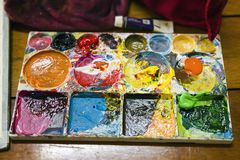 Colorful of watercolor tray Stock Images