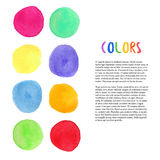 Colorful watercolor vector background. Decoration with painting blots. Art studio decoration. Vector template Stock Images