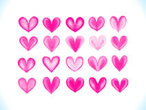 Colorful  watercolor vector pink hearts set Royalty Free Stock Image