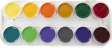 Colorful Watercolors. Colourful Watercolors Palette Isolated on White Background Stock Photo