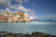 Colorful waterfront buildings in Boccadasse stock photos