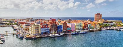 Colorful waterfront of homes and shops in Curacao stock photo