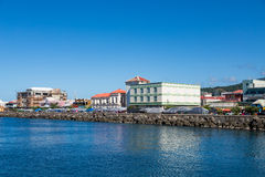 Colorful Waterfront of Rosseau Dominica. Colorful buildings in the coastal Caribbean town of Rosseau Dominica stock images
