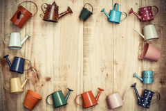 colorful watering cans and buckets Stock Photography
