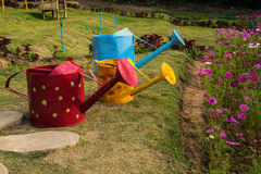 Colorful watering cans. Colorful watering cans  in flower garden Stock Images