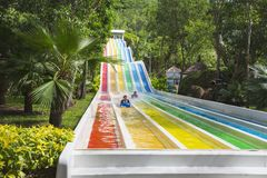 Colorful waterslide in Vinpearl water park Stock Images
