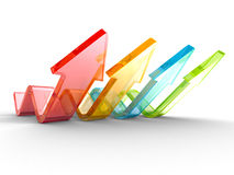 Colorful Wave Arrows Group. Teamwork Concept. 3d Render Illustration Royalty Free Stock Photos