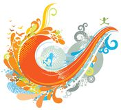 Colorful Wave Background. With birds and skateboarder silhouettes Stock Photos