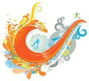 Colorful Wave Background stock illustration