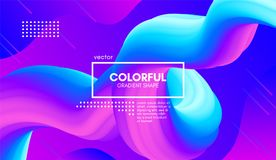 Colorful Wave Gradient Shape. Abstract 3d Background. Abstract Gradient Background with Color Liquid Shape. 3d Vector Illustration. Modern Wave Flow Design stock illustration