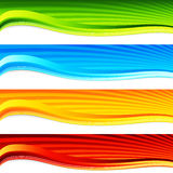 Colorful Wave Sunrise Banner Set Stock Photo