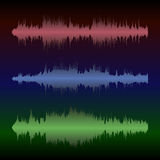 Colorful waveform. Set of colorful waveforms, vintage abstract background and symbol for music, sound engineering, and dance Stock Image