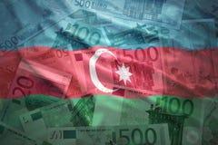 Colorful waving azerbaijani flag on a euro background. Colorful waving azerbaijani flag on a euro money background Stock Photo