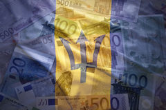 Colorful waving barbados flag on a euro  background Royalty Free Stock Images