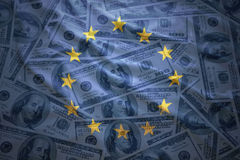 Colorful waving european union flag on a  dollar money background Royalty Free Stock Photos