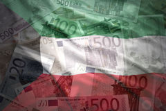 Colorful waving kuwait flag on a euro  background Royalty Free Stock Photography