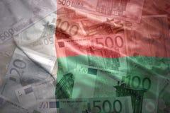 Colorful waving madagascar flag on a euro  background. Colorful waving madagascar flag on a euro money background Stock Photos
