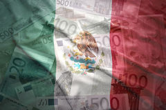 Colorful waving mexican flag on a euro  background Stock Photos