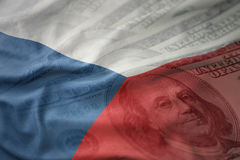 Colorful waving national flag of czech republic on a american dollar money background. Royalty Free Stock Image