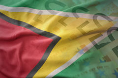 Colorful waving national flag of guyana on a euro money banknotes background. Stock Photography