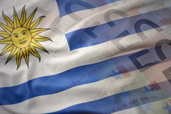 Colorful waving national flag of uruguay on a euro money banknotes background Stock Photo