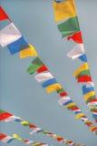 Colorful waving prayer flags Stock Image